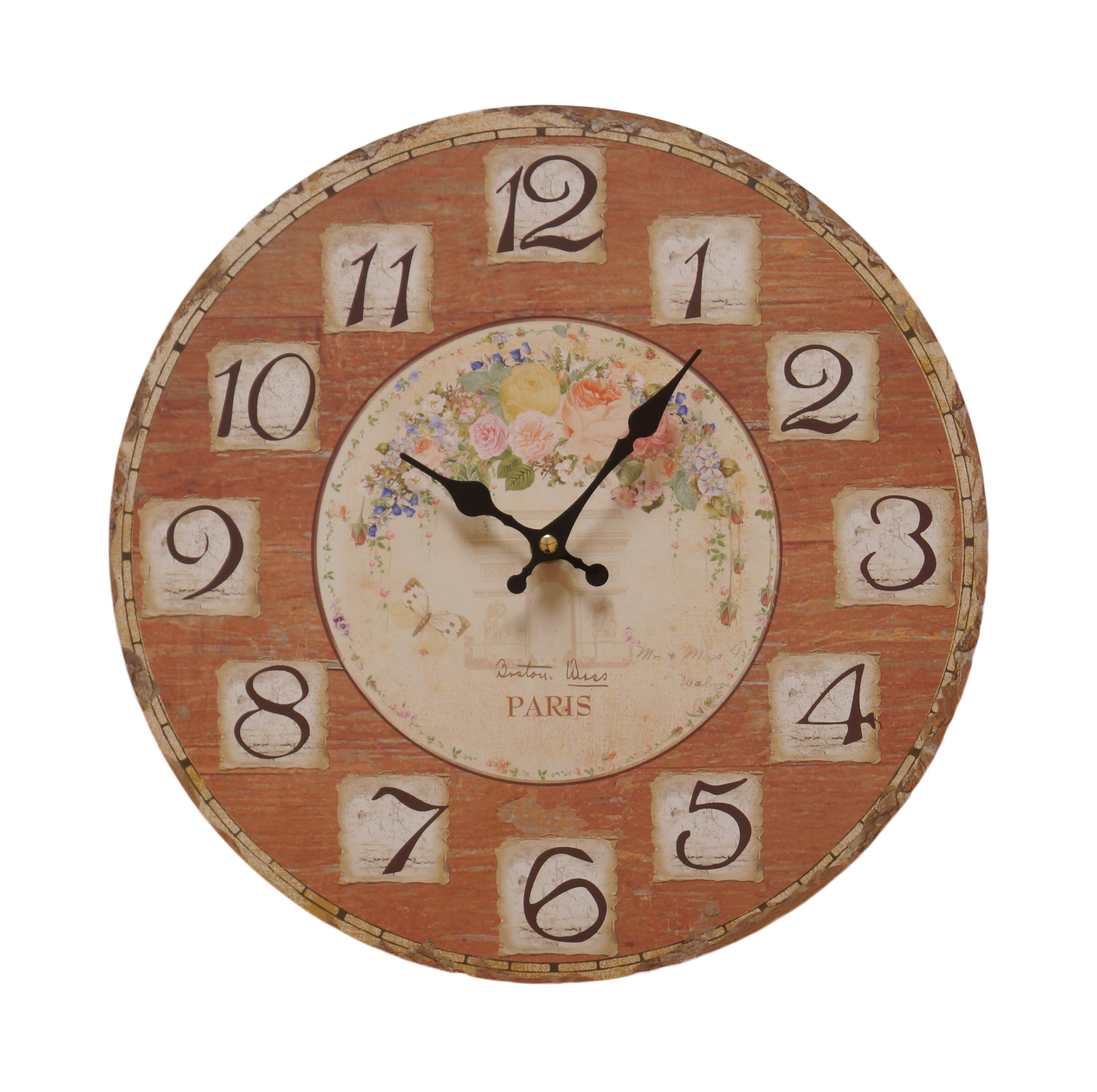 vintage retro holz wanduhr uhr 34cm shabby chic landhausstil used look antik ebay. Black Bedroom Furniture Sets. Home Design Ideas