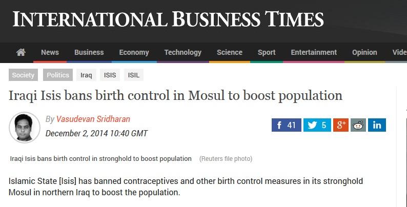 www.ibtimes.co.uk/iraqi-isis-bans-birth-control-mosul-boost-population-1477630