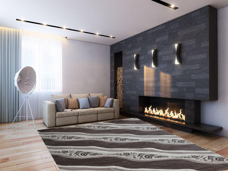 Moderner Teppich AY Yildiz Miami Farbe Braun Beige Aktions