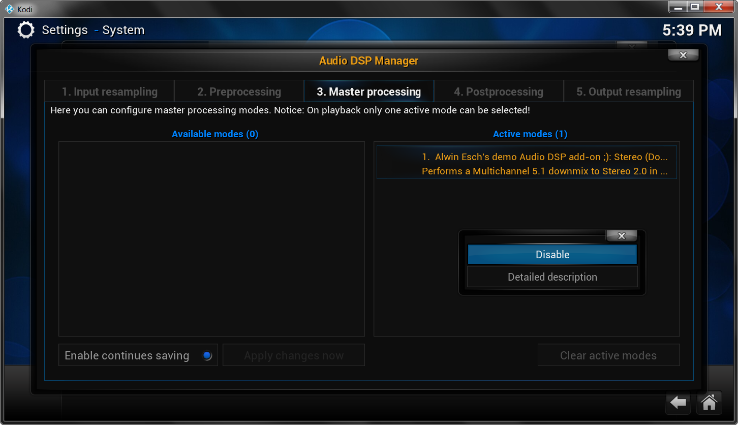 Figure 1 Kodi's Audio DSP Manager Dialog