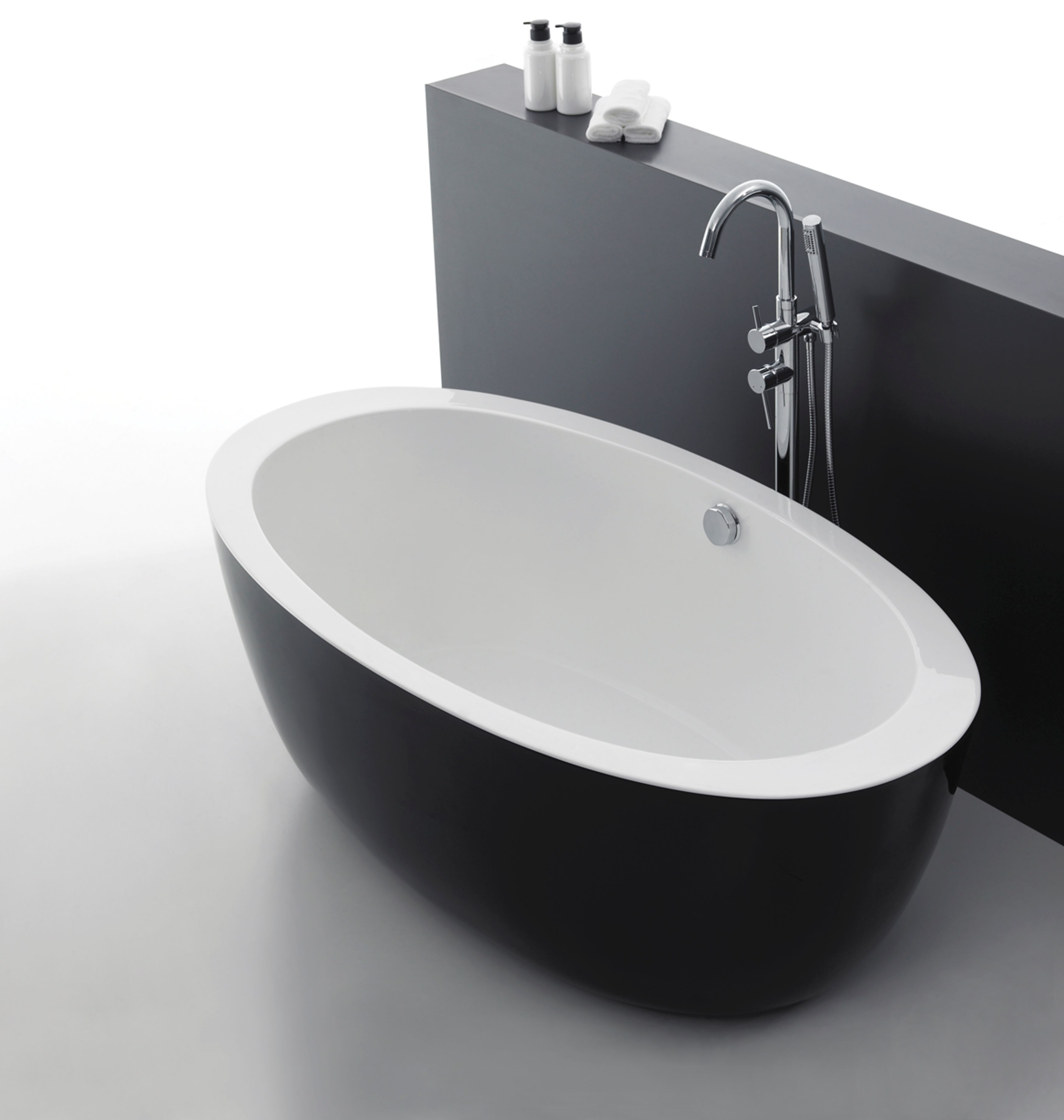 freistehende badewanne acryl badewanne schwarz wei 1700x880x600 mm ebay. Black Bedroom Furniture Sets. Home Design Ideas