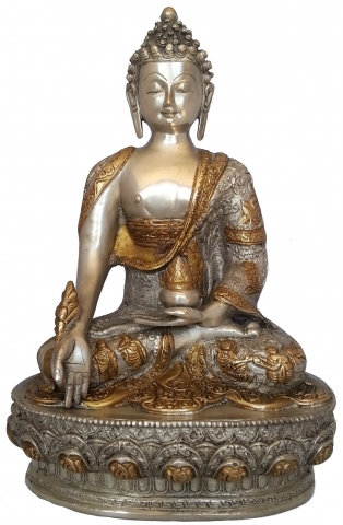 medizinbuddha silber messing 33 cm ca 4 kg figur nepal tibet indien buddhismus ebay. Black Bedroom Furniture Sets. Home Design Ideas