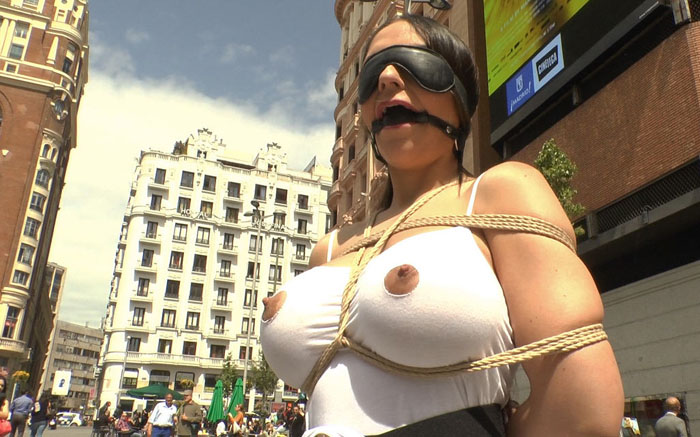 Public Disgrace - Steve Holmes, Mona Wales, Marta La Croft, Xavi Tralla - Big Tit Spanish Supermodel Bound & Dragged Through Madrid City Center WebRip (2015)
