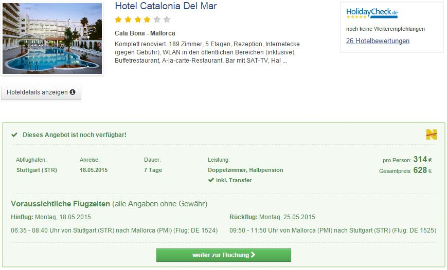 7 Tage Mallorca im 4* Hotel Catalonia del Mar mit Halbpension inkl. Flug und Transfer für 314€