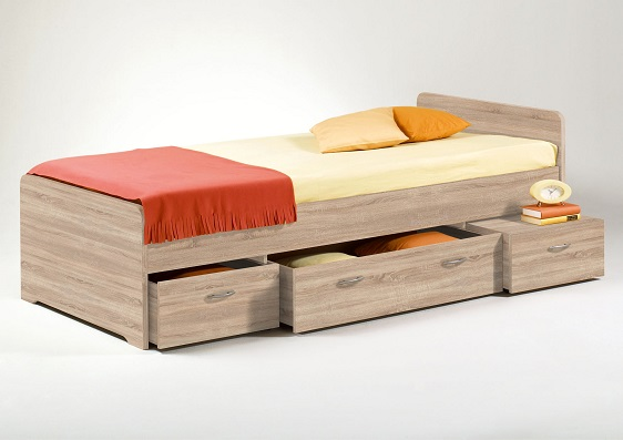kojenbett boro eiche sonoma bett bettgestell 90x200 cm schlafzimmer ebay. Black Bedroom Furniture Sets. Home Design Ideas