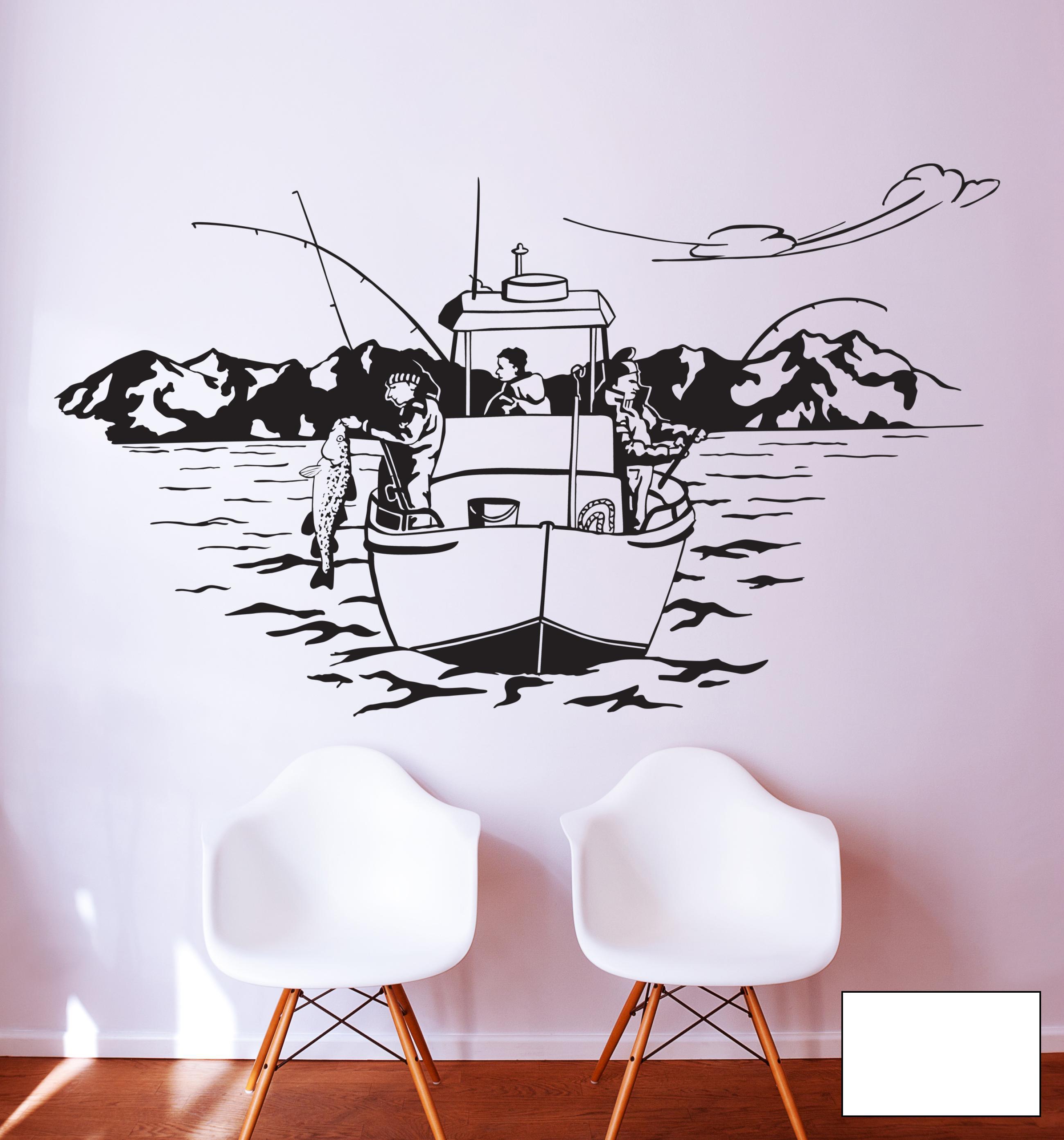Wandtattoo angler angelboot norwegen see boot m1454 ebay - Ebay wandtattoo ...