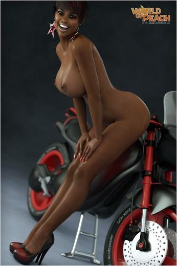 Hot ebony girl Racy Rack posing naked near an awesome red motocycle