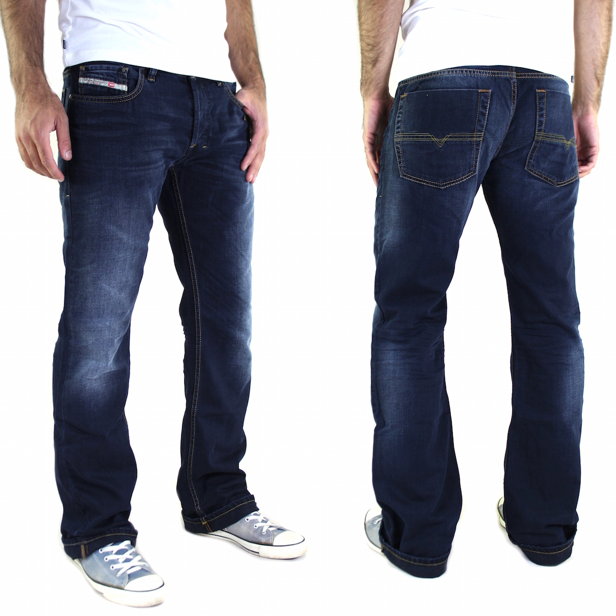 neu diesel zatiny herren jeans hose boot cut dunkelblau kollektion 2015 ebay. Black Bedroom Furniture Sets. Home Design Ideas