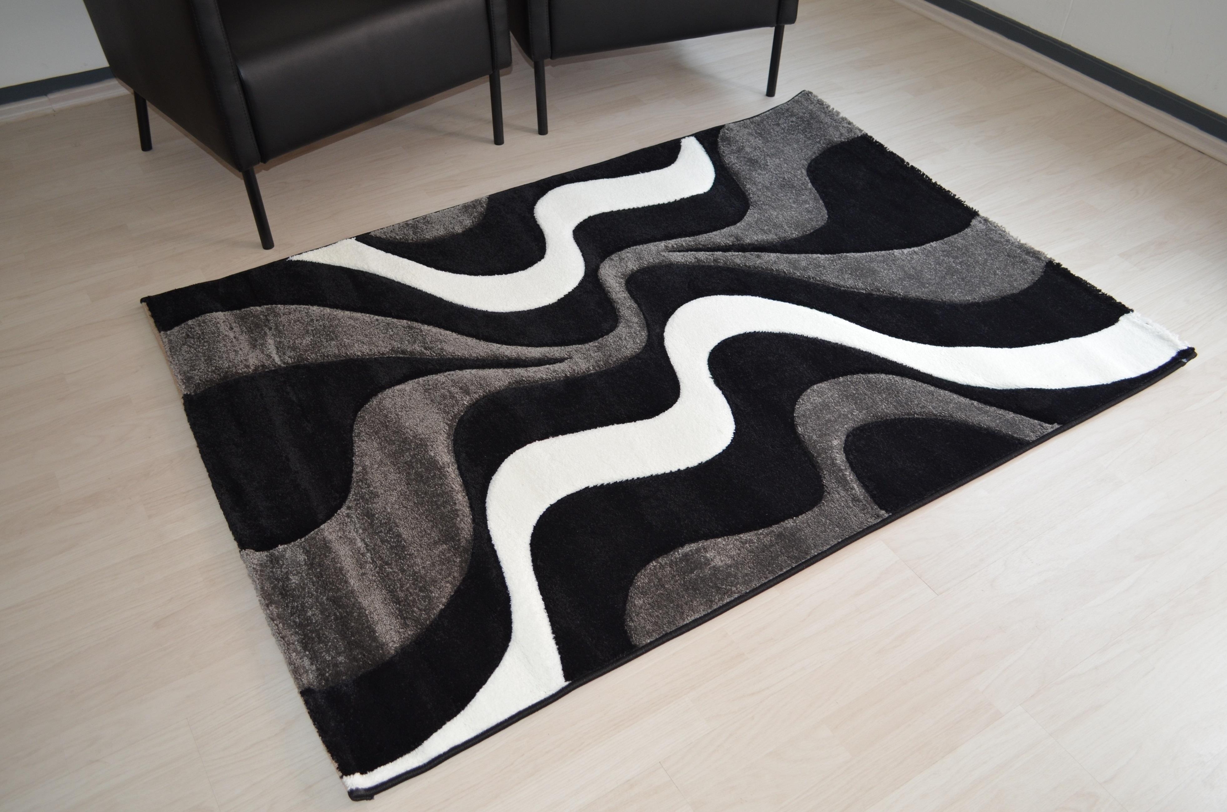 Moderner Teppich AY Yildiz 3D Effekt in der Farben Schwarz
