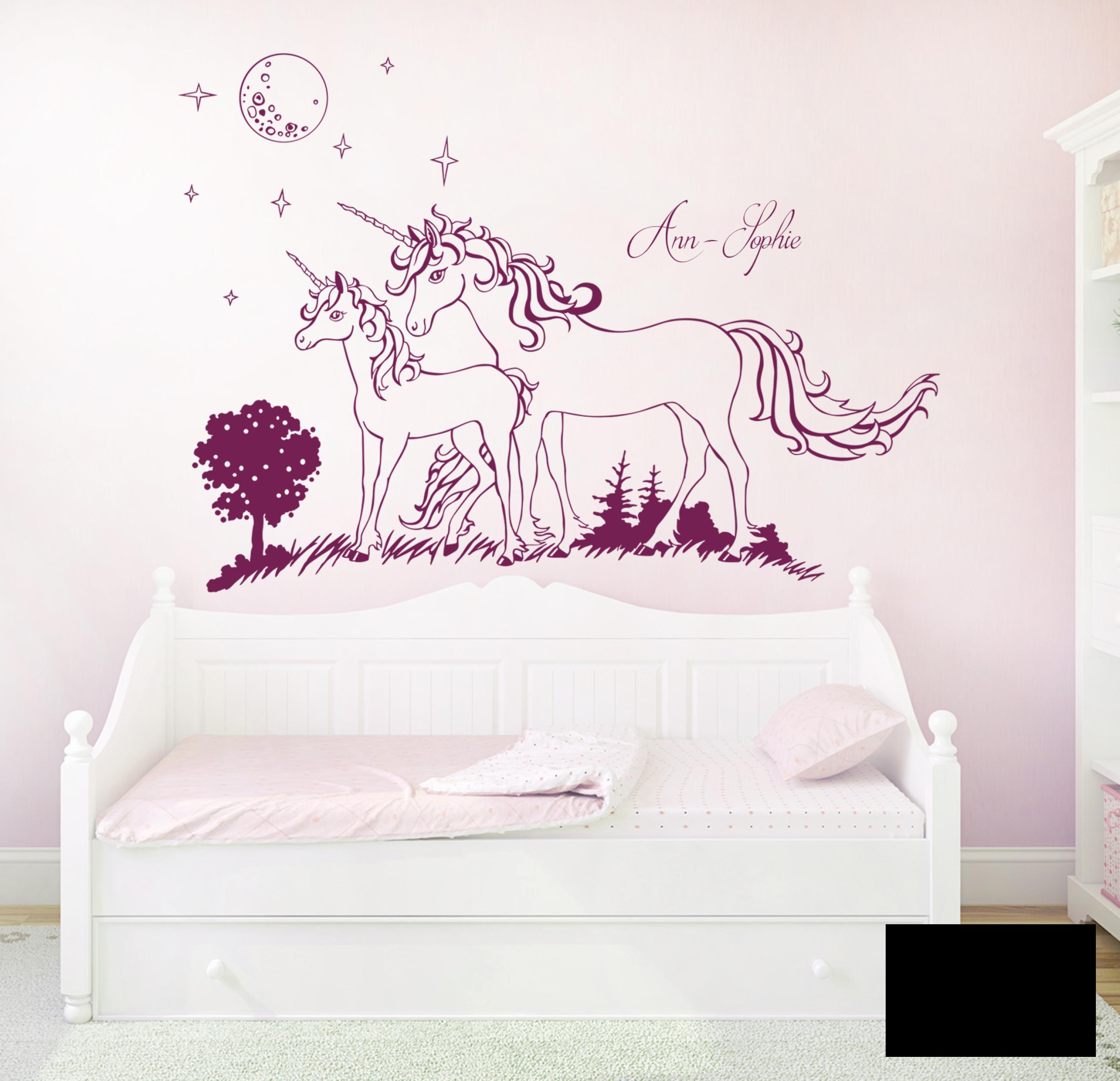 wandtattoo einh rner sterne mit namen m1600 ebay. Black Bedroom Furniture Sets. Home Design Ideas