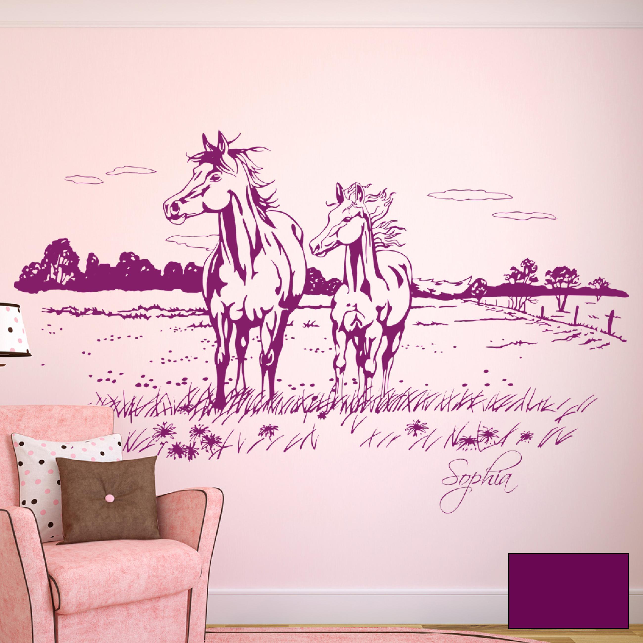 wandtattoo pferde pferdekoppel mit namen m1608 ebay. Black Bedroom Furniture Sets. Home Design Ideas