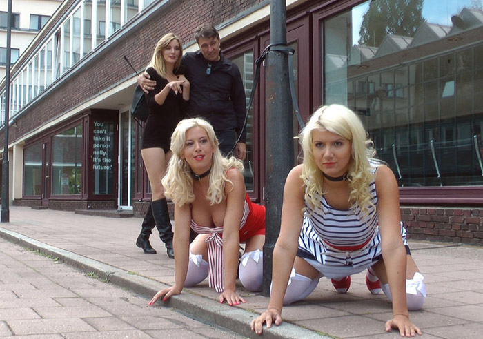 Public Disgrace - Steve Holmes, Laela Pryce, Mona Wales, Manu Magnum - Two Busty Bombshell Blondes Disgraced Like Dogs by Mona Wales 720p WebRip (2015)
