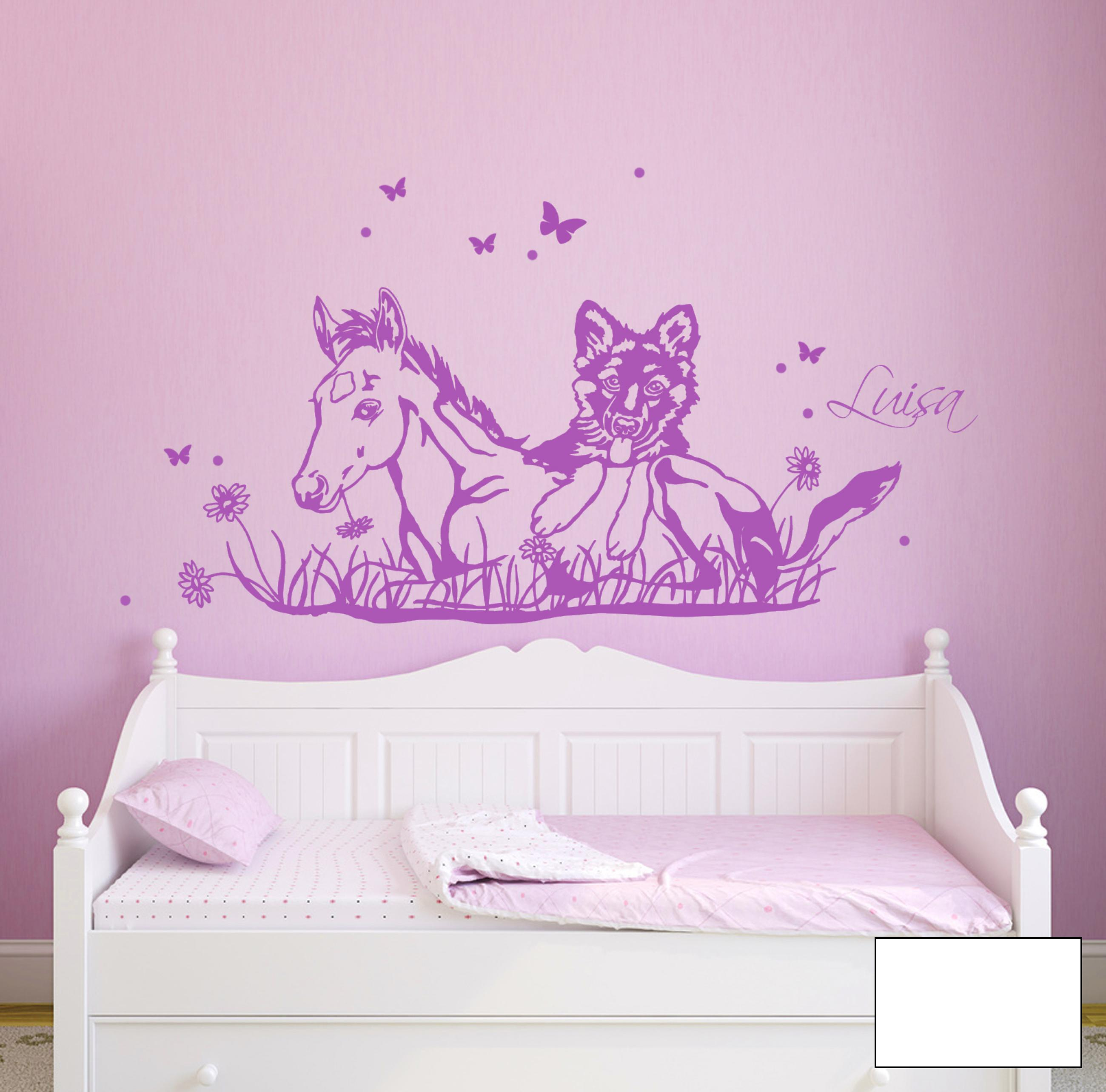 wandtattoo pferd fohlen mit hund wunschname m1630 ebay. Black Bedroom Furniture Sets. Home Design Ideas