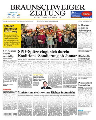 Braunschweiger Zeitung Helmstedter Nachrichten 16 Dezember 2017