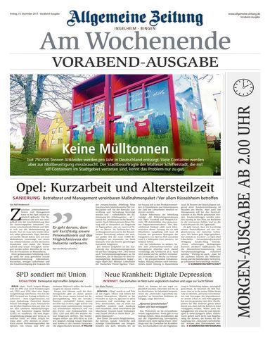 Allgemeine Zeitung Ingelheim Bingen 16 Dezember 2017