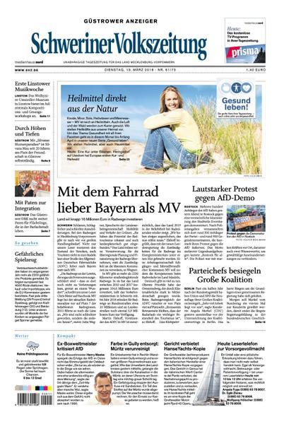 : Schweriner Volkszeitung Guestrower Anzeiger 13 Maerz 2018