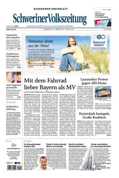 : Schweriner Volkszeitung Hagenower Kreisblatt 13 Maerz 2018