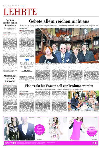 Anzeiger Lehrte 16 April 2018