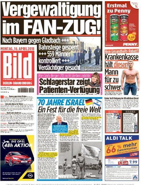 Bild Zeitung Berlin Brandenburg 16 April 2018