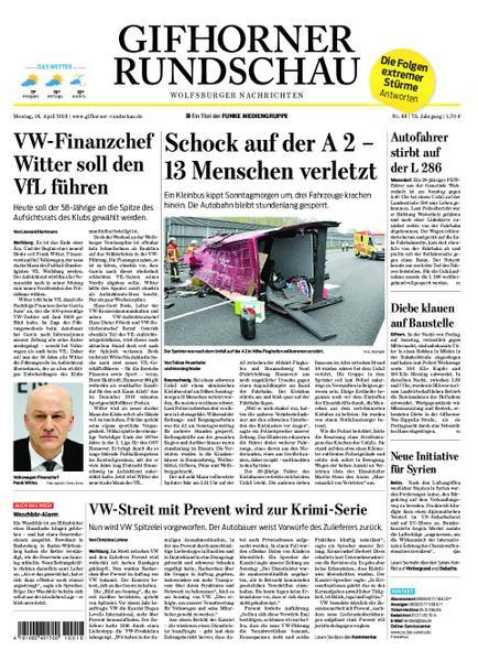 Gifhorner Rundschau Wolfsburger Nachrichten 16 April 2018