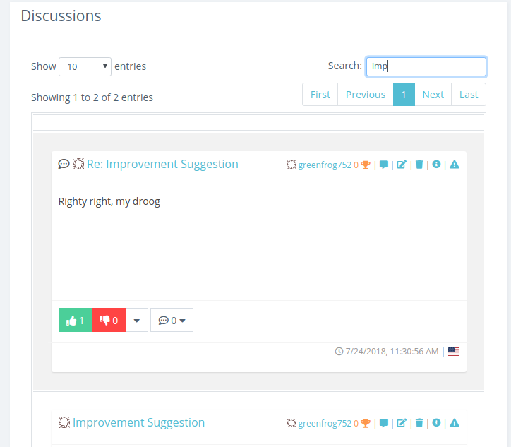 Search discussions