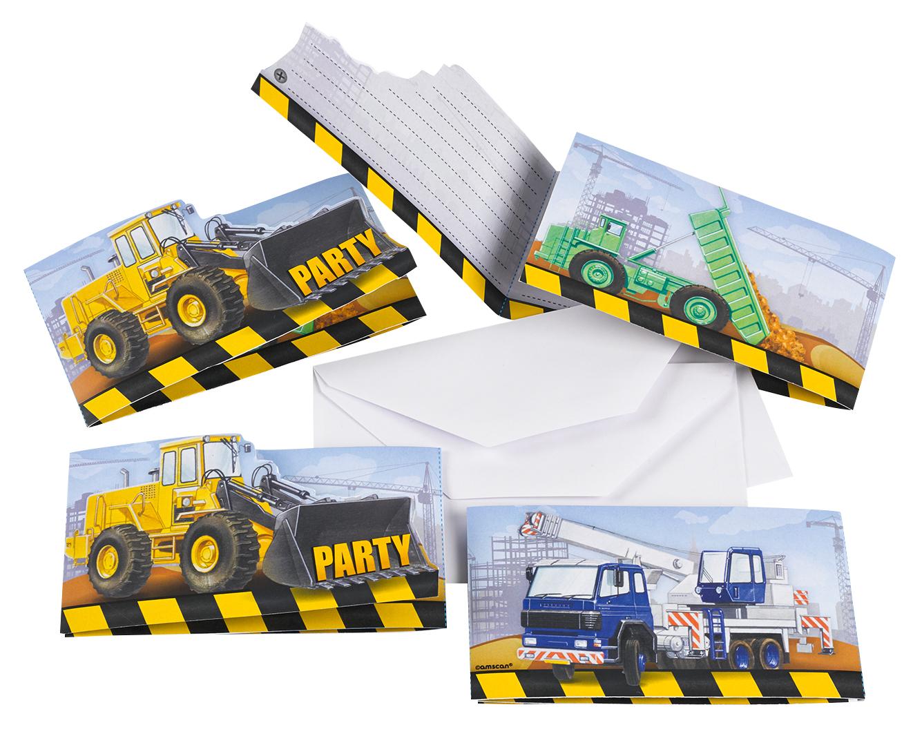 // Baustellen Party Construction 8 Einladungskarten + Briefumschläge 998330--