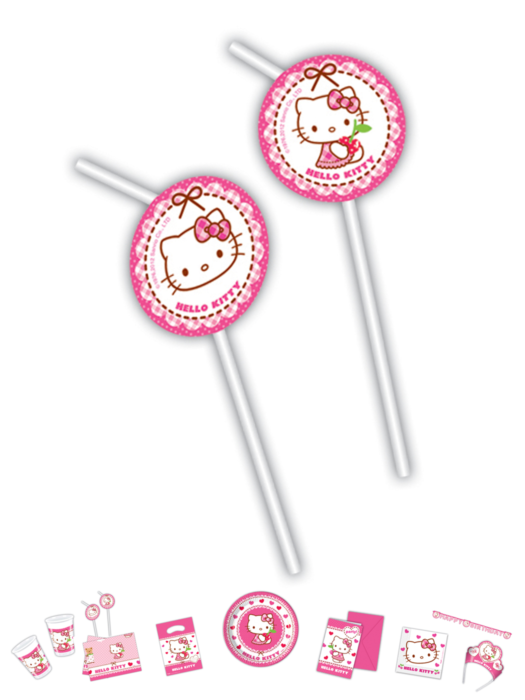 Hello Kitty Motiv Herz 6 Trinkhalme P81798--