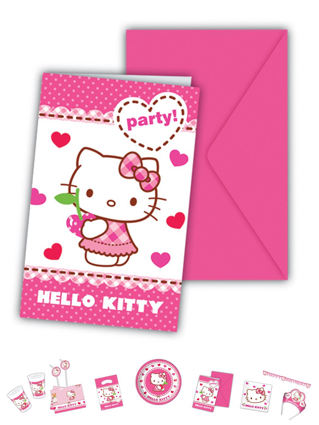 Hello Kitty Motiv Herz 6 Einladungskarten P81797--