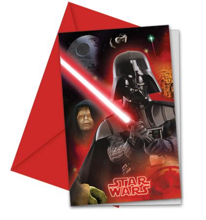 Star Wars Einladungskarten mit Umschlag, 6 Stück P84397